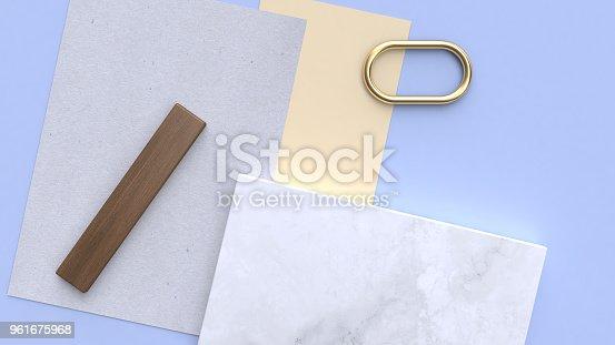 istock blue-purple-blue minimal geometric shape 3d rendering flay lay paper background 961675968