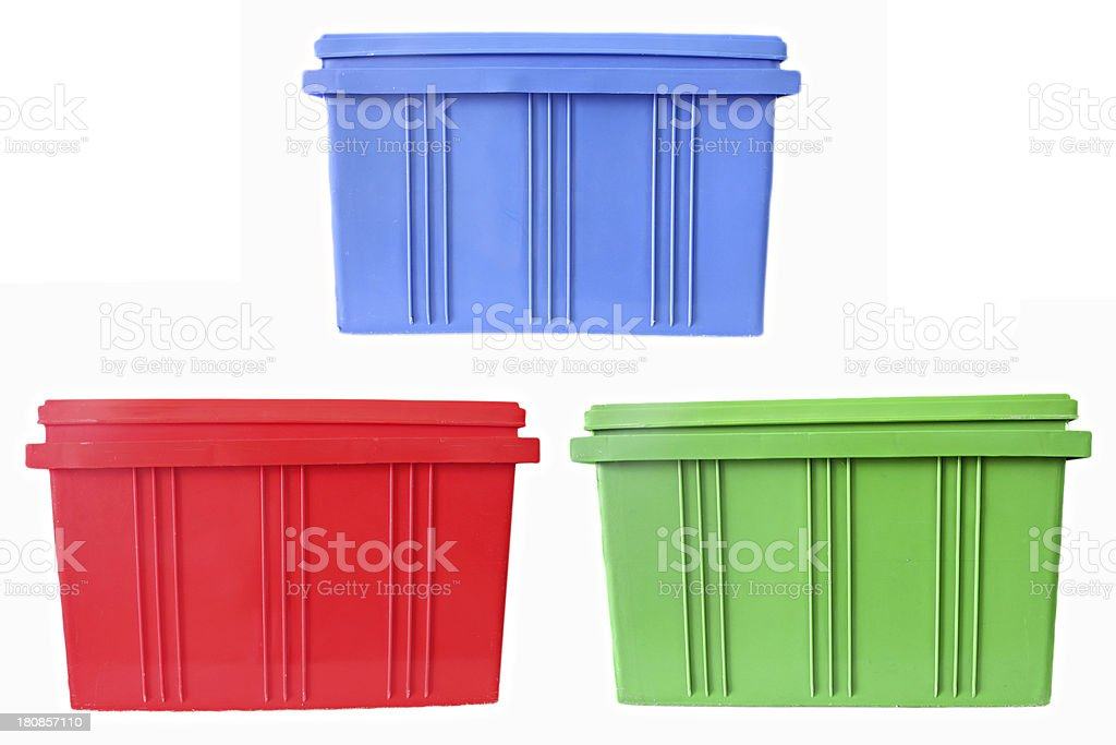 Blue,Red and Green Plastic box Packaging of finished goods. stock photo