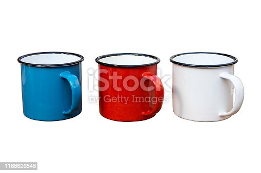 Blue,Red and White Enamel Mugs