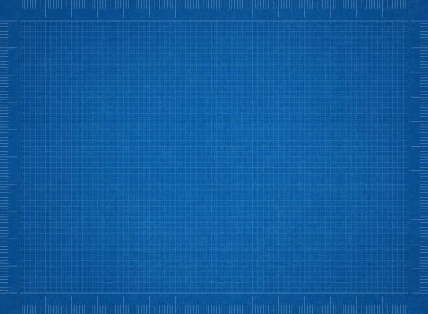 bluerint paper - grid pattern stock photos and pictures