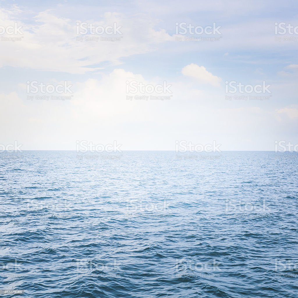 blues sea with waves and clear blue sky royalty-free stock photo