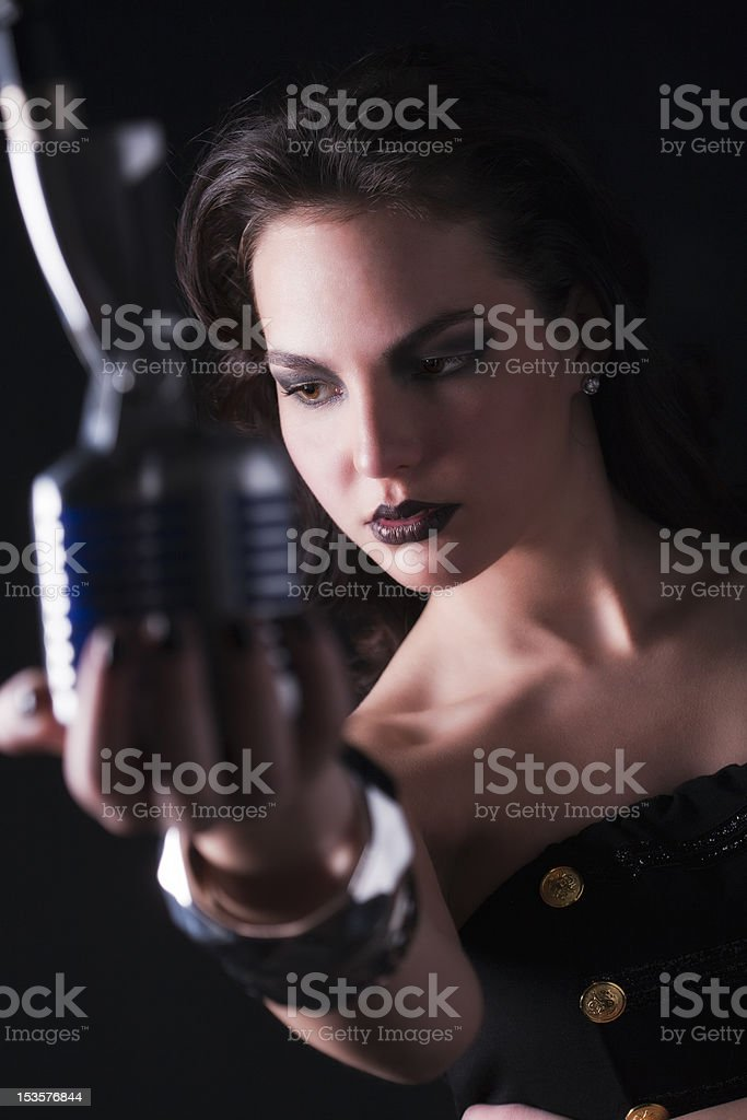 Blues singer hold an old microphone stock photo