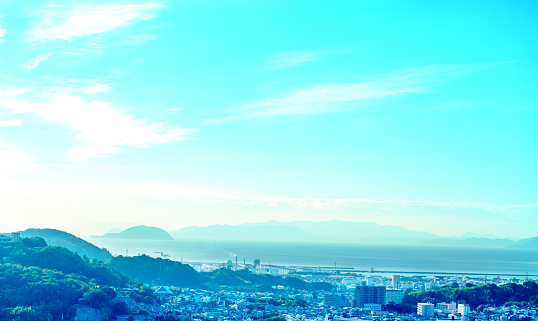 Blueskymountainssea And Bilding Stock Photo - Download Image Now