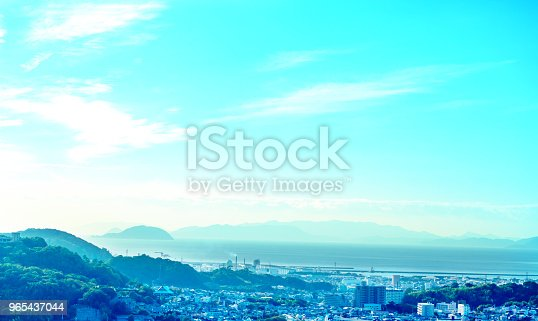 Blueskymountainssea And Bilding Stock Photo & More Pictures of Agriculture
