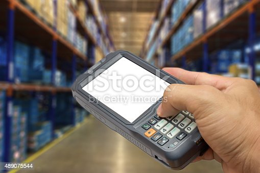 92884259 istock photo Bluetooth barcode scanner isolated on a white background 489075544