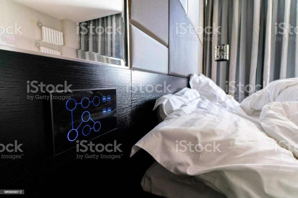 bluetooth controller screen of smart bedroom stock photo