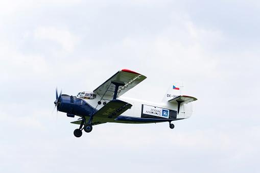 Bluewhite Antonov An2 Flying Stock Photo - Download Image Now
