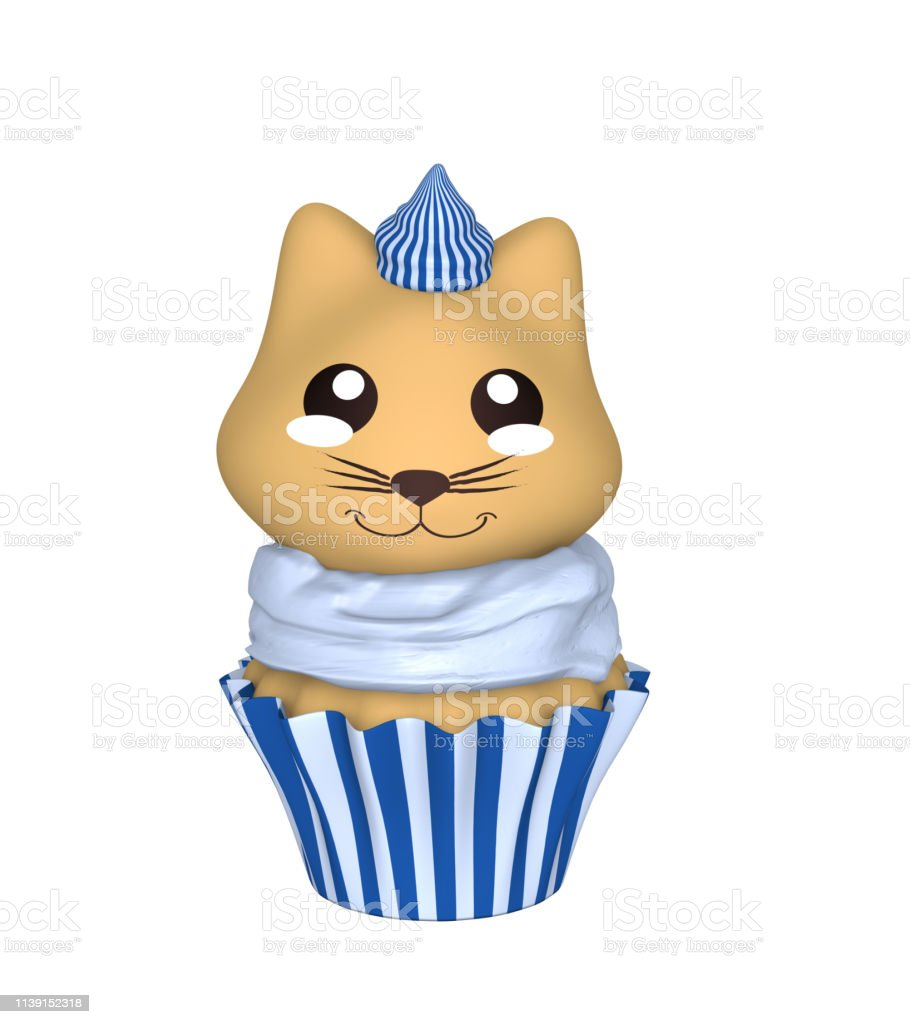 Blau-weißer Cupcake mit Kawaii-Stil. – Foto