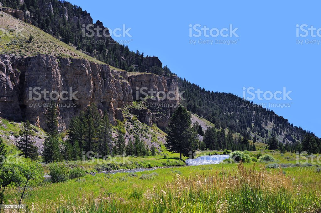 Bluff Overlooking River stock photo