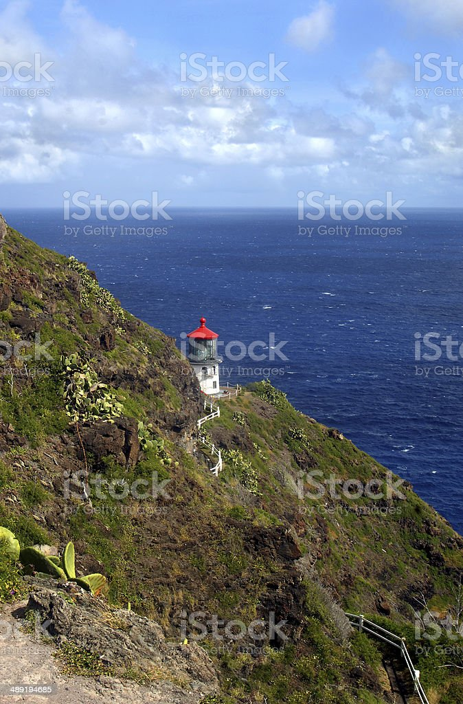 Bluff trail view of Makapuu Lighthouse stock photo