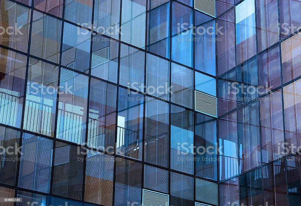 Bluish building reflection royalty-free stock photo