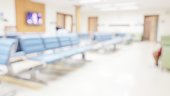 istock Blur abstract background of corridor in clean hospital. Blurred view of aisle in office with light floor. Blurry lobby and waiting area in hotel. Defocused empty area for event hall in shopping mall 1163630129