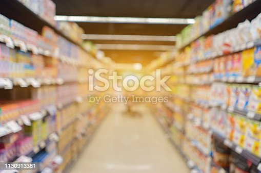 Blur abstract background of people shopping in super market ,products on shelves ,Supermarkets with bokeh,customer defocus ,vintage color