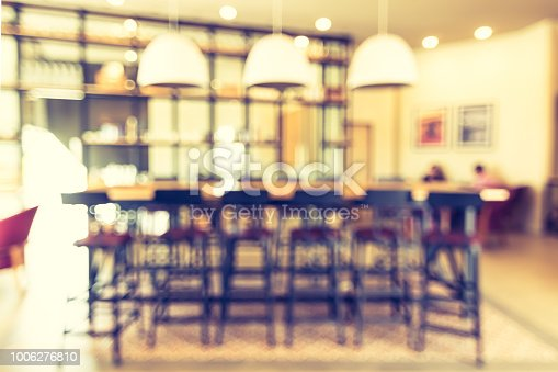 Blur abstract background view empty working table and chair for co-working space or group meeting discussion in coffee shop