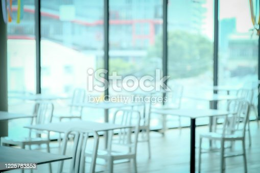 1047047834 istock photo Blur Aligning tables and chairs for social distancing. 1225783853