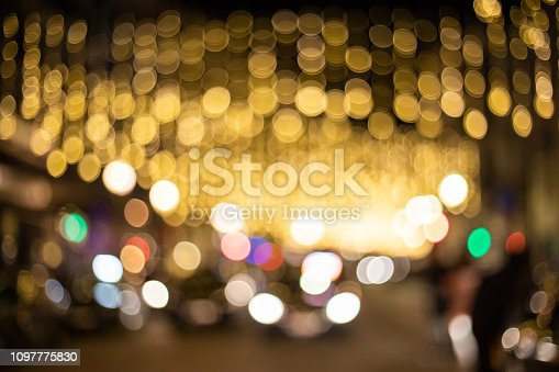 877010878 istock photo Blur and bokeh of night party in street 1097775830