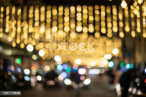 877010878 istock photo Blur and bokeh of night party in street 1097775846