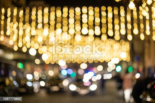 877010878 istock photo Blur and bokeh of night party in street 1097775852