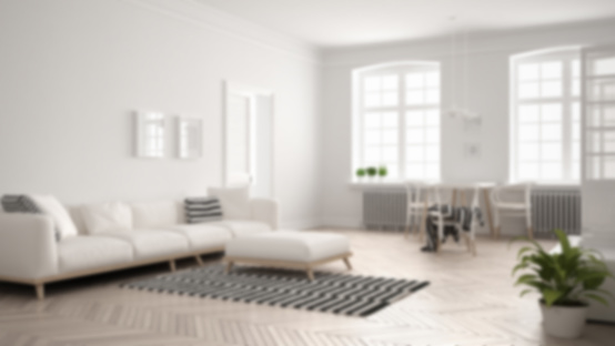 Blur Background Interior Design Bright Minimalist Living Room With Sofa And Dining Table Stock Photo Download Image Now Istock