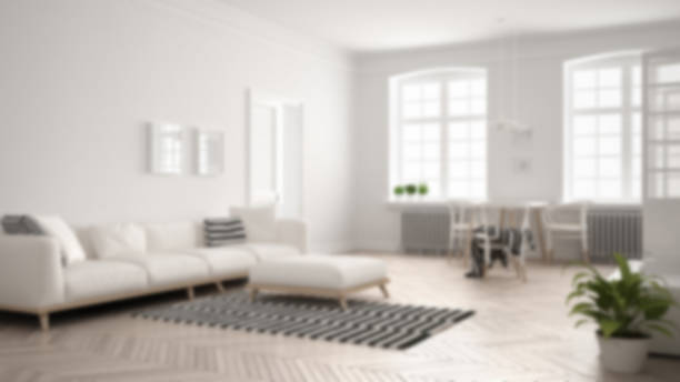 blur background interior design, bright minimalist living room with sofa and dining table - focus on background stock photos and pictures