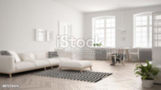 Blur Background Interior Design Bright Minimalist Living
