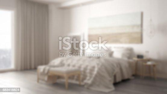istock Blur background interior design, classic bedroom, scandinavian modern minimalistic style 683418824