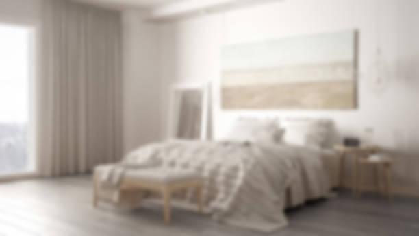 Blur background interior design, classic bedroom, scandinavian modern minimalistic style stock photo