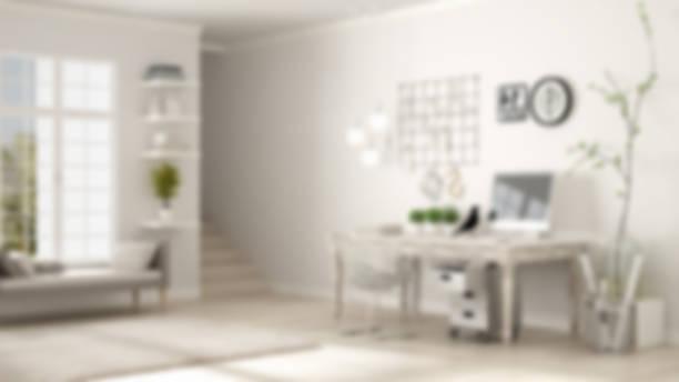 Blur background interior design, home workplace, scandinavian house room corner office stock photo
