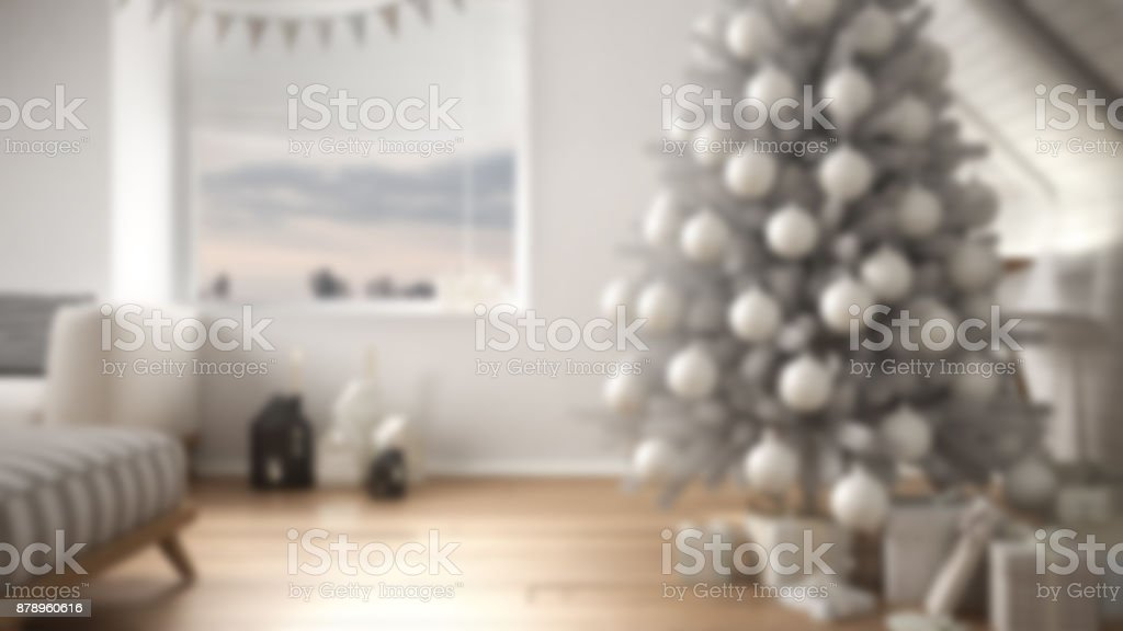 Blur Background Interior Design, Loft Living Room With Christmas Tree And  Presents, White Scandinavian