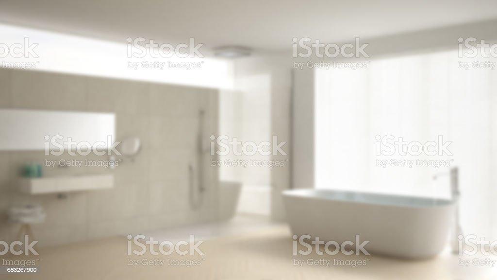 Desenfocar Fondo Interiorismo Minimalista Cuarto De Baño Con Bañera Y Ducha  Azulejos De Mármol Y Suelo De Parquet Foto de stock y más banco de ...