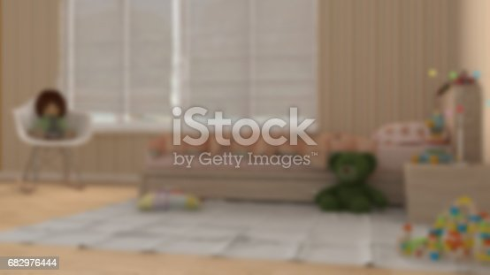 istock Blur background interior design, minimalist children bedroom with toys 682976444