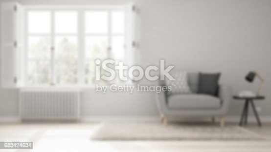 istock Blur background interior design, minimalist living room, simple white living with big window, scandinavian classic 683424634