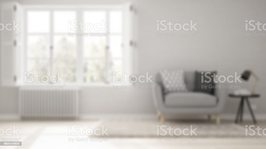 Blur background interior design, minimalist living room, simple white living with big window, scandinavian classic stock photo