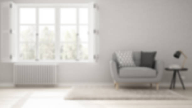 blur background interior design, minimalist living room, simple white living with big window, scandinavian classic - focus on background stock photos and pictures