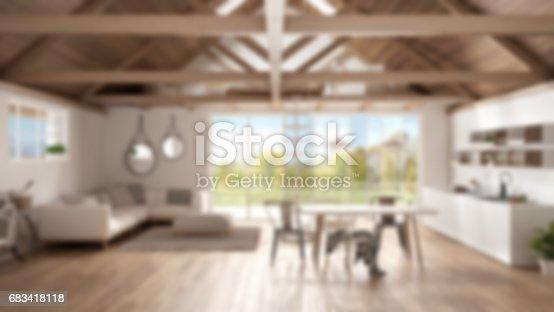 istock Blur background interior design, minimalist mezzanine loft, kitchen, living and bedroom, wooden roofing and parquet floor with garden panorama 683418118