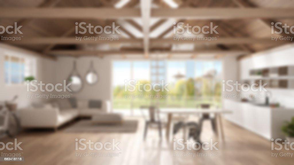 Blur background interior design, minimalist mezzanine loft, kitchen, living and bedroom, wooden roofing and parquet floor with garden panorama stock photo