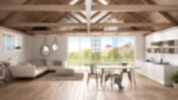 blur background interior design, minimalist mezzanine loft, kitchen, living and bedroom, wooden roofing and parquet floor with garden panorama - küche italienisch gestalten stock-fotos und bilder