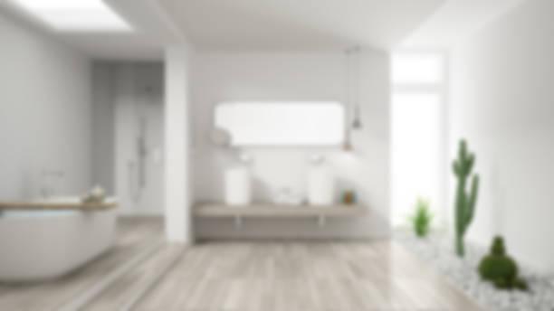 Desenfoque de fondo diseño de interiores, baño minimalista con suculento jardín, hotel, spa - foto de stock