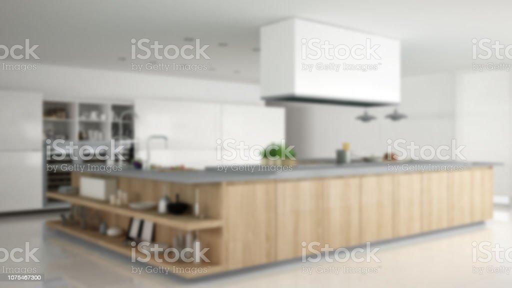 Photo libre de droit de Flou Fond Intérieur Design Minimaliste  Professionnelle Cuisine En Bois Avec Accessoires Un Design Intérieur  Contemporain ...