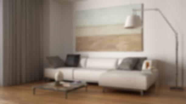 Blur background interior design, modern minimalist living with white sofa stock photo