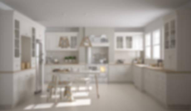 Blur background interior design, scandinavian classic white kitchen with wooden details stock photo