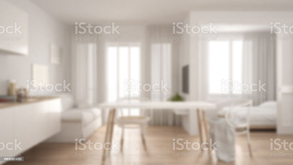 Blur background interior design, scandinavian kitchen with sofa and table, wooden parquet floor stock photo
