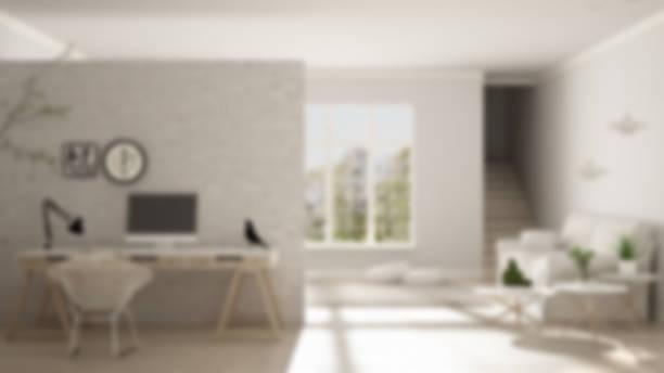 Blur background interior design, scandinavian living with home workplace, house minimalist corner office stock photo