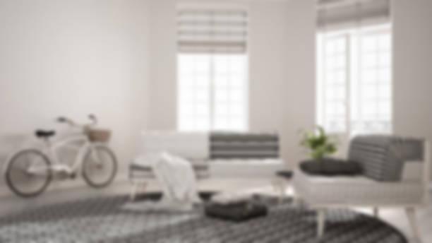 Blur background interior design, scandinavian minimalist living room with sofa, armchair and carpet stock photo