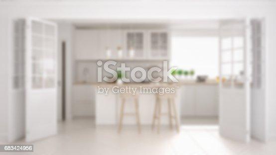 istock Blur background interior design, scandinavian minimalistic classic kitchen with wooden and white details 683424956
