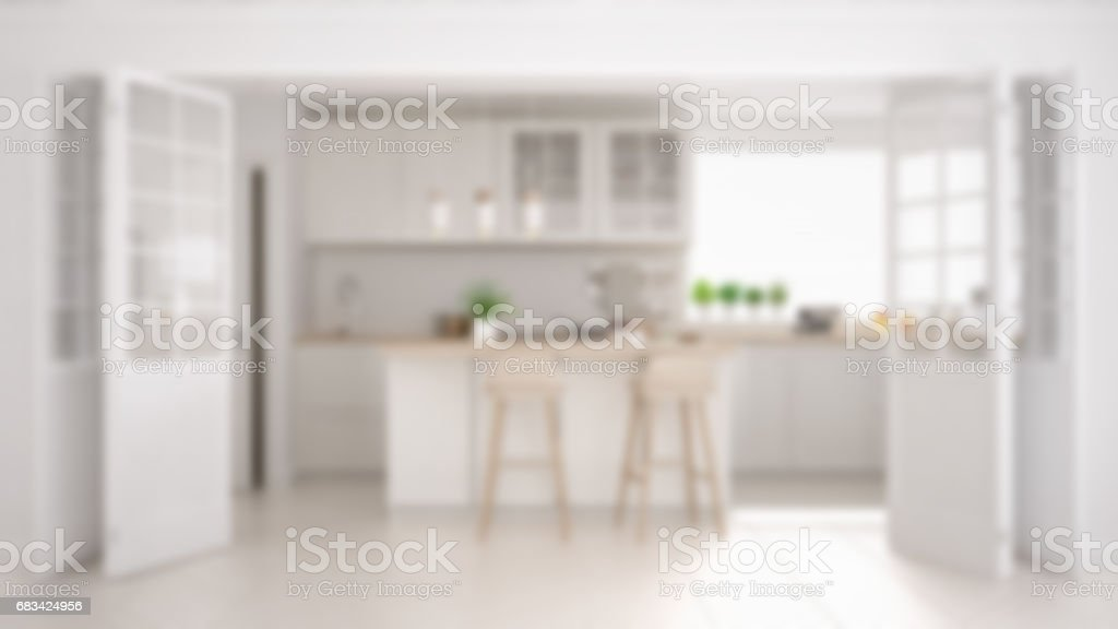 Blur background interior design, scandinavian minimalistic classic kitchen with wooden and white details stock photo