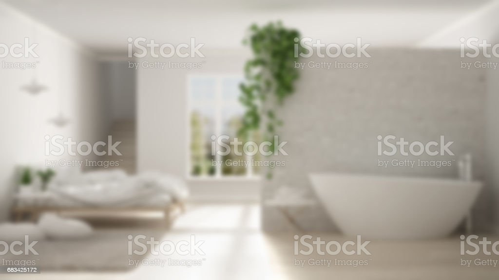 Flou Fond Intérieur Design, Scandinave Minimaliste Blanc Salle De Bain Et  Chambre à Coucher,