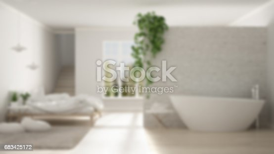 istock Blur background interior design, scandinavian white minimalist bathroom and bedroom, open space, modern one room apartment 683425172