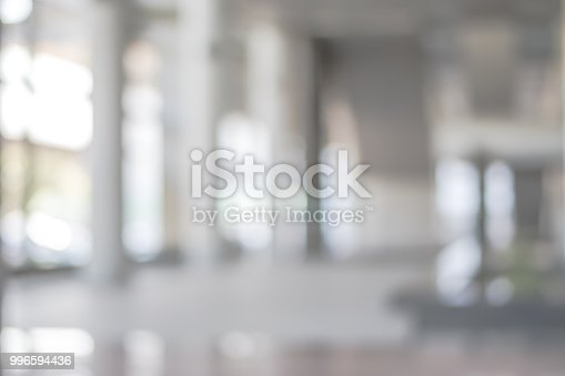 1009742300 istock photo Blur background interior view looking out toward to empty office lobby and entrance doors and glass curtain wall 996594436