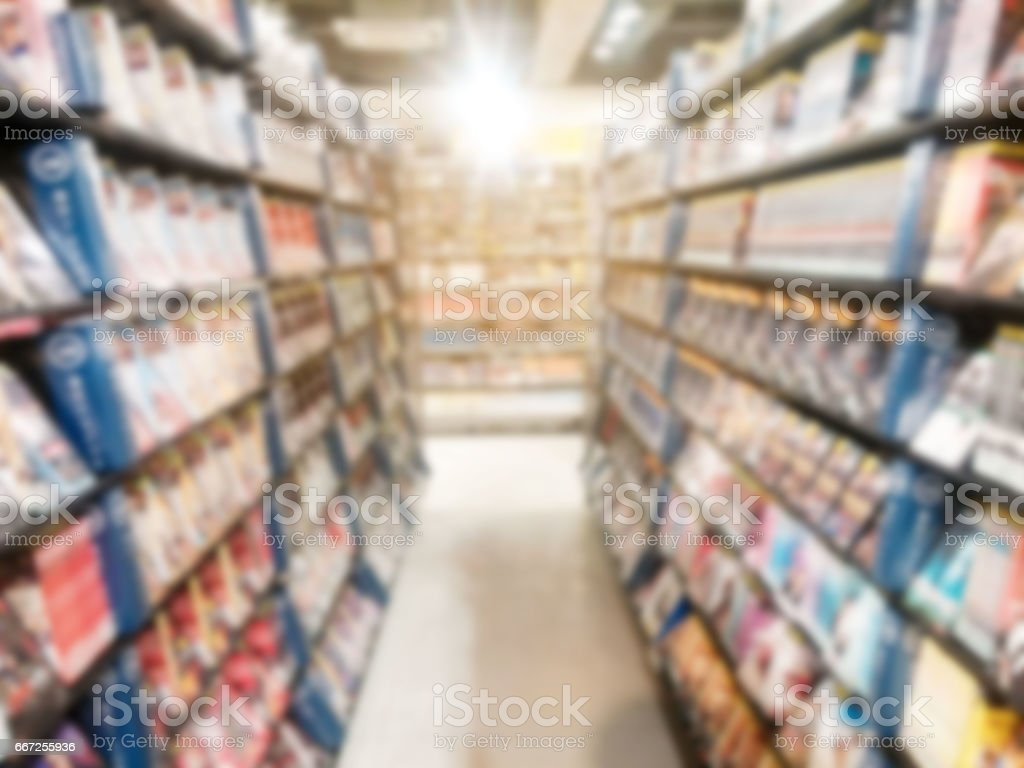 Blur background of CD shop in a record shop royalty-free stock photo